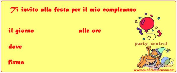 INVITO DI COMPLEANNO GARFIELD